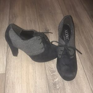 3 inch lace up booties, size 8